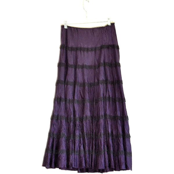 90's Betsey Johnson Skirt Goth Deep Purple Betsey Skirt, Purple Lace... ($77) ❤ liked on Polyvore featuring skirts, vintage long skirts, elastic waist maxi skirt, long lace skirt, long hippie skirts and bohemian maxi skirts
