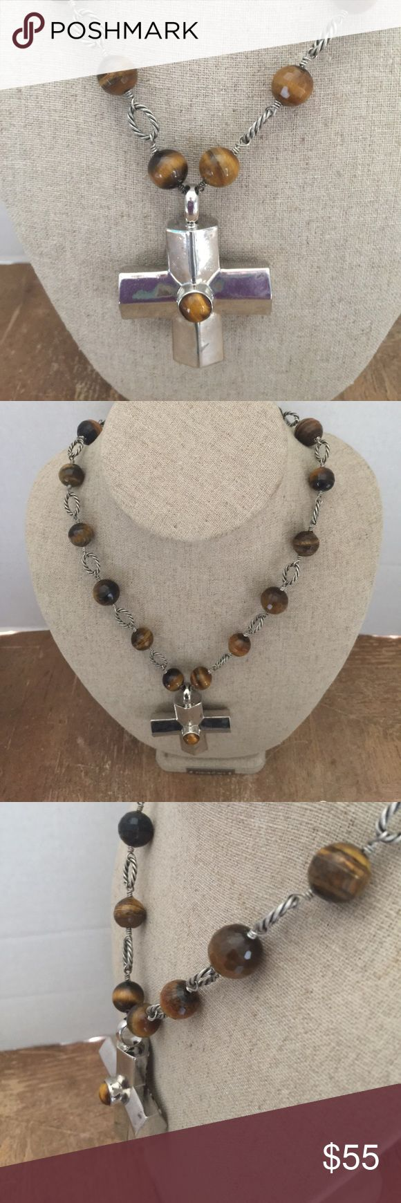 "Tiger Eye Beaded Cross Necklace by Claudia Agudelo Tiger Eye Beaded Cross Necklace by Claudia Agudelo. 26"". Contains a large hollowed cross pendant (2-1/4"") Claudia Agudelo Jewelry Necklaces"