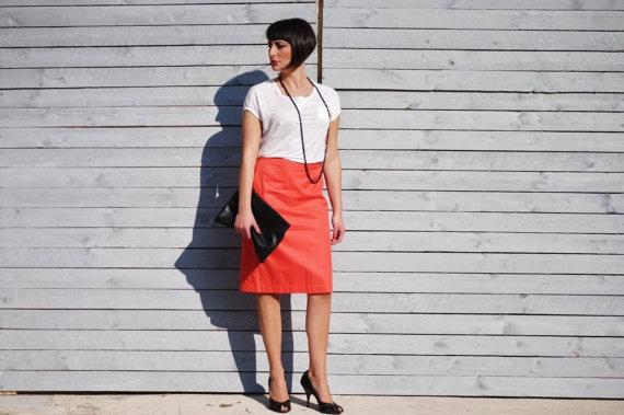 tangerine pencil skirt