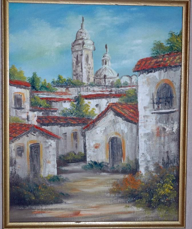 Latin American Old Convent Or Church Oil Painting On
