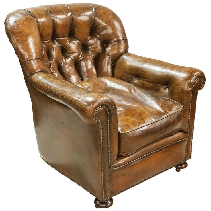 Deep Buttoned Brown Leather Chair | From a unique collection of antique and modern club chairs at https://www.1stdibs.com/furniture/seating/club-chairs/