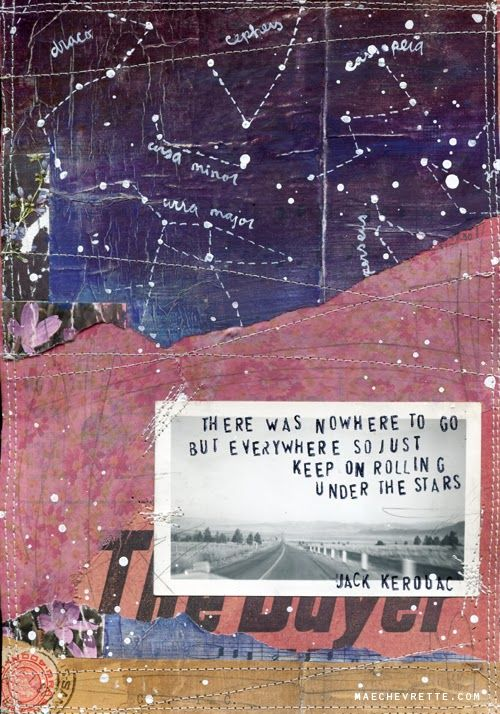 Mae Chevrette mixed media painting - Day 23 of 30x30 project. Jack Kerouac #quote   #photography #text