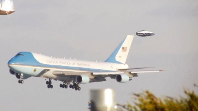 Air Force One Escorted By Secret Military Craft TR-3B?