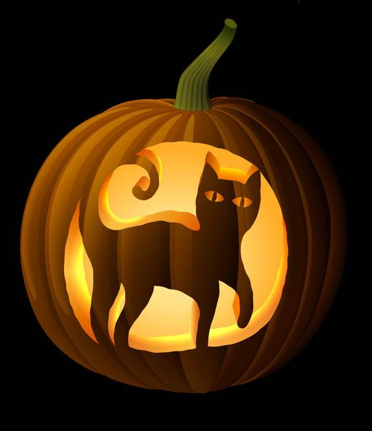 Black Cat Pumpkin Carving Stencil #CatPumpkinCarvingPatterns, #HalloweenPumpkinCarvingPatterns http://www.celebrating-halloween.com/pumpkincarving/black-cat-pumpkin-carving-stencil.shtml Celebrating Halloween