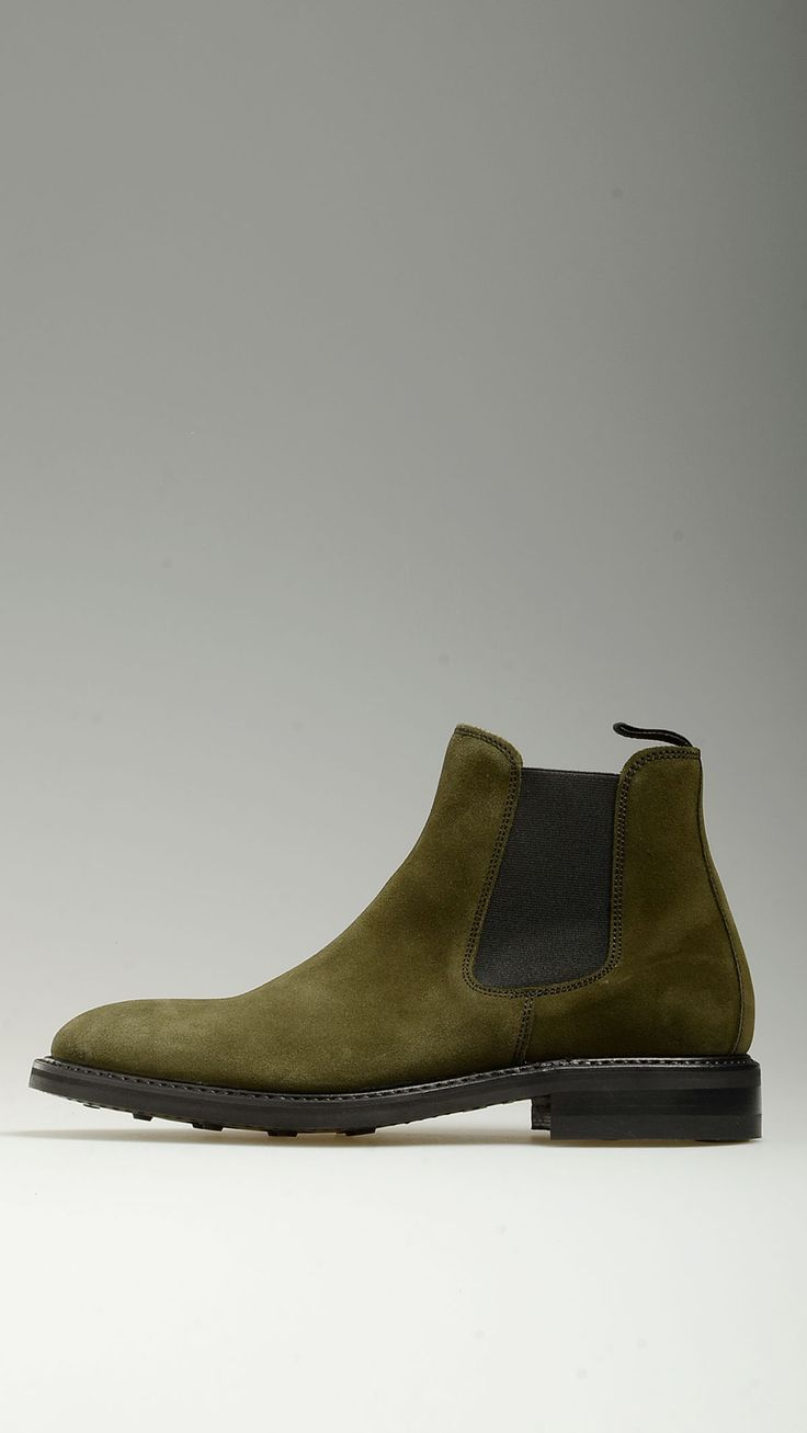 Dark green suede Chelsea boots featuring dainite rubber sole, 1.1'' heeled, goodyear construction, elasticized side band, 100% suede.