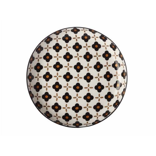 Christopher Vine Marigold Side Plate 18.5cm Black Flower   Crockery - House
