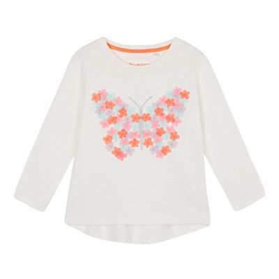 bluezoo Girls' white butterfly embroidered t-shirt | Debenhams