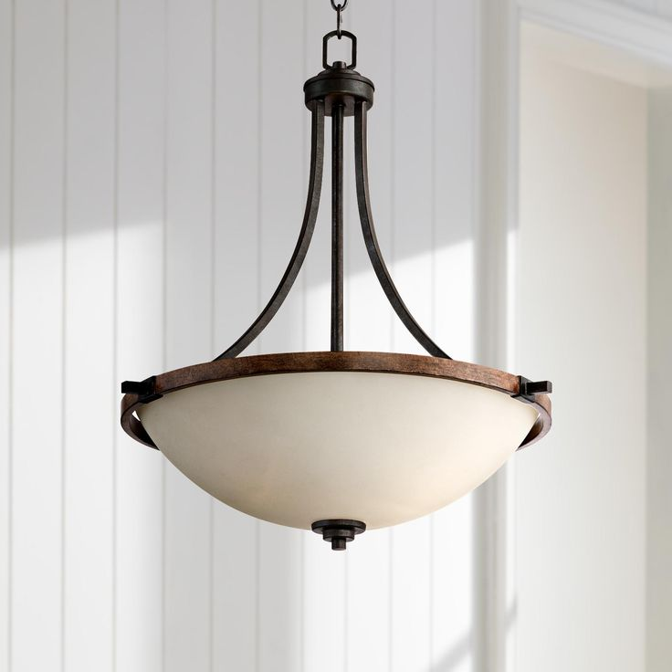 Ranger 21 Wide Faux Wood And Bronze Pendant Light