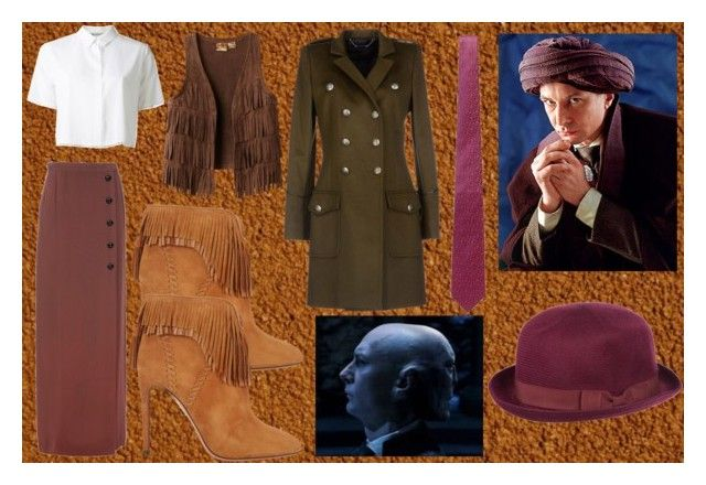 Quirinus Quirrell by slytheriner on Polyvore featuring T By Alexander Wang, Barbara Bui, Yves Saint Laurent, Aquazzura, River Island and Penrose London