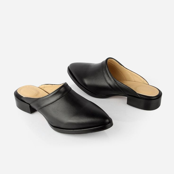 The Slide - black leather womens close toe shoe - Poppy Barley