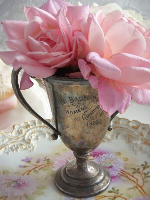 Vintage Trophy Cup and pink roses