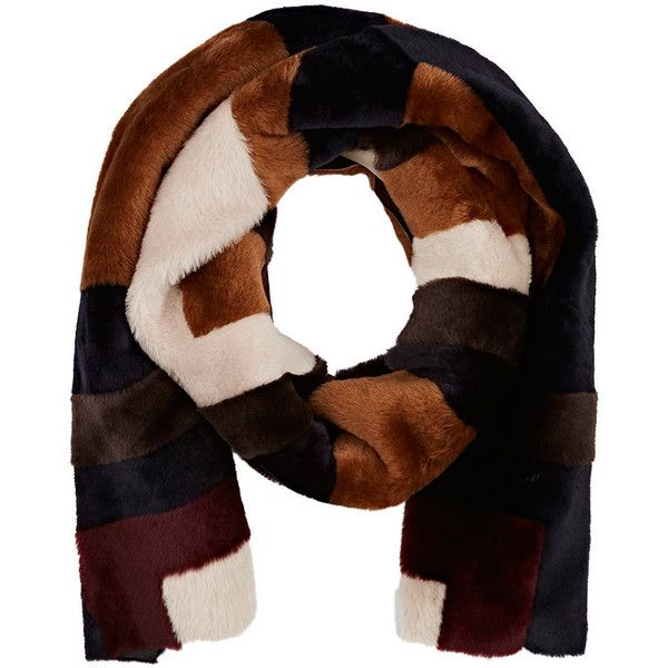 Gabriela Hearst Women's Patchwork Shearling Scarf (£1,445) ❤ liked on Polyvore featuring accessories, scarves, brown, gabriela hearst, brown shawl, brown scarves, colorful shawl and colorful scarves