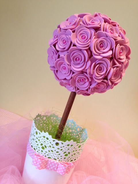 Topiária com flores em EVA | Gracinhas Artesanato