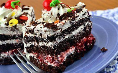 Scarica sfondi torta, un po ' di torta, ubriaco ciliegio, pezzo di torta
