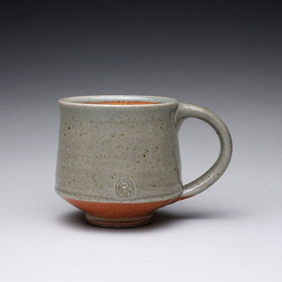 handmade pottery mug, teacup, ceramic mug with green celadon and orange shino glazes