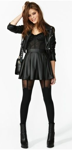 Fleur lace bustier and leather circle skirt. #NastyGal