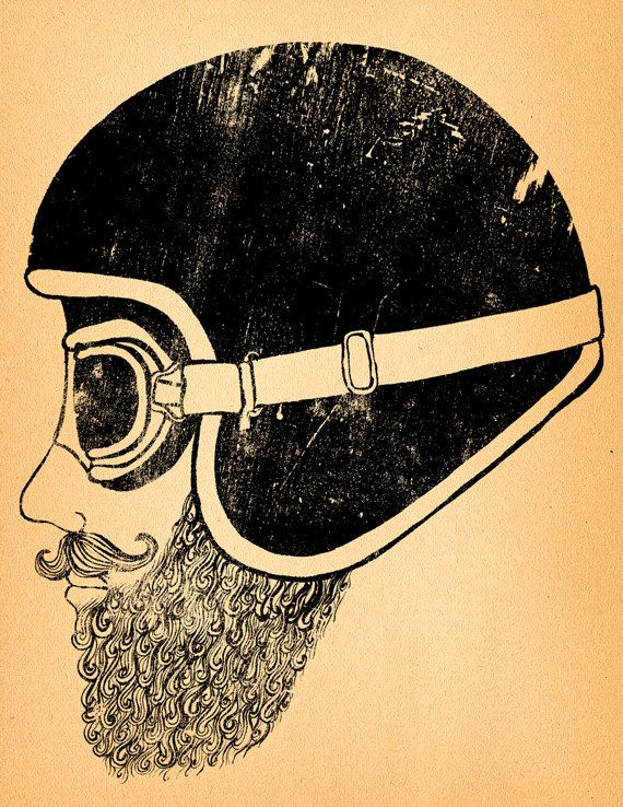 Motorcycle Art Print Moto Head by BrineAndByway on Etsy