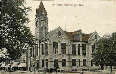 Wisconsin, WI, Oconomowoc, City Hall Early Postcard