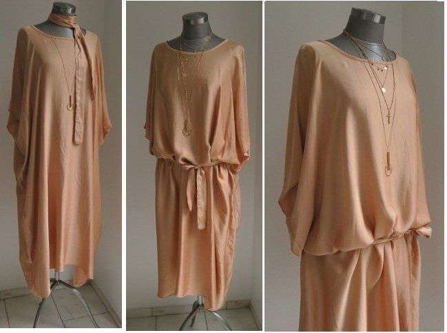 Bohemian Kaftan Tunika Kleid Nudefarbenes Weites Kaftan Fashion Boho Fashion Long Sleeve Dress