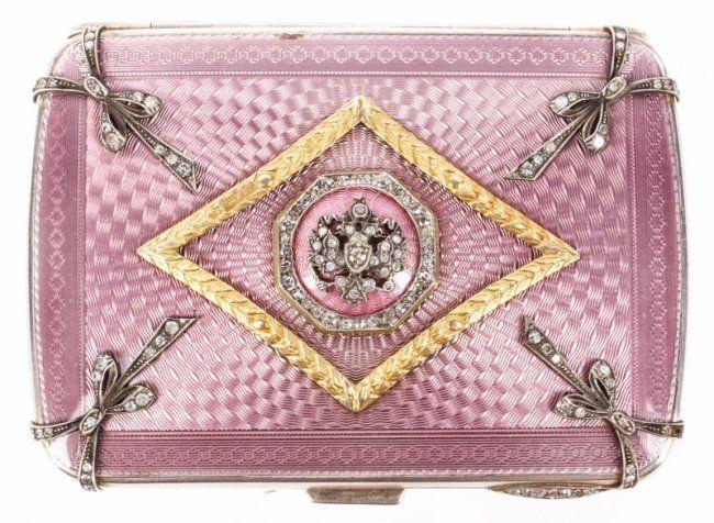 A Fabergé Silver Guilloche Enamel and Diamond Cigarette Case. Enamel in light Lavender & Pink: Lot 99 'liveauctionners' ♥≻★≺♥
