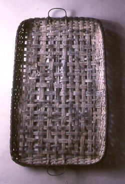 Woven tray with black & white finish (39 x 25 x 2 in) by NY based artisan & basketmaker Jonathan Kline. via Black Ash Baskets