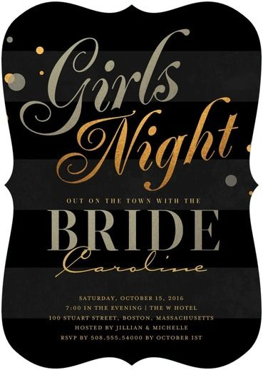 Night on the Town - Signature White Bachelorette Party Invitations