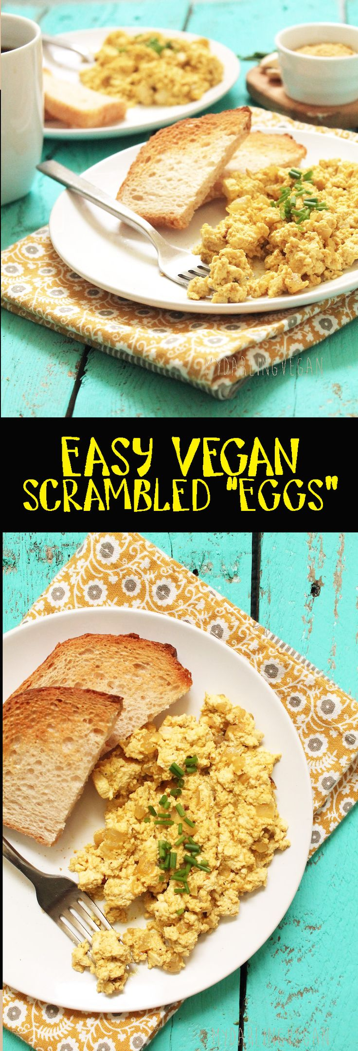 """Start your day off right with these easy vegan scrambled """"eggs"""". Click the picture for the full recipe."""
