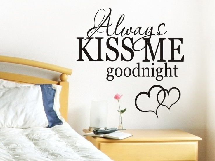 Always kiss me goodnight wall quote decal