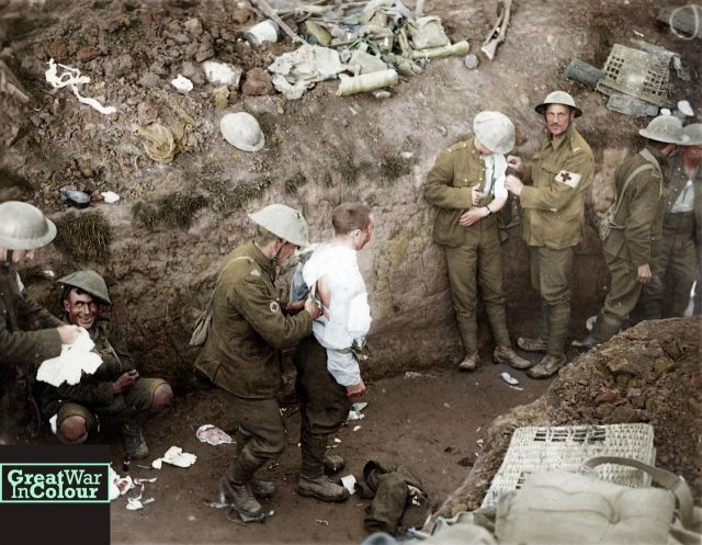 Medics help wounded Canadian soldiers during the Battle of Courcelette.