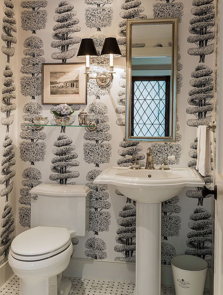 Linnaeus Noir wallpaper in the traditional powder room [Design: Wilson Kelsey Design]