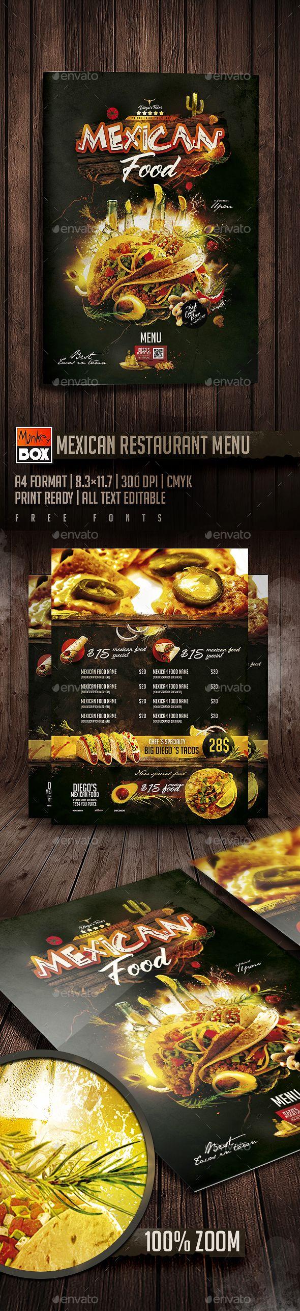 Mexican #Restaurant #Menu - #Food Menus Print Templates Download here: https://graphicriver.net/item/mexican-restaurant-menu/19727877?ref=alena994