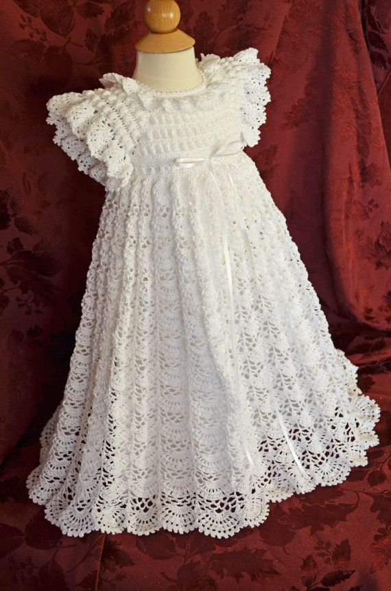 White Christening / Blessing Gown with Slip by CherryHillCrochet