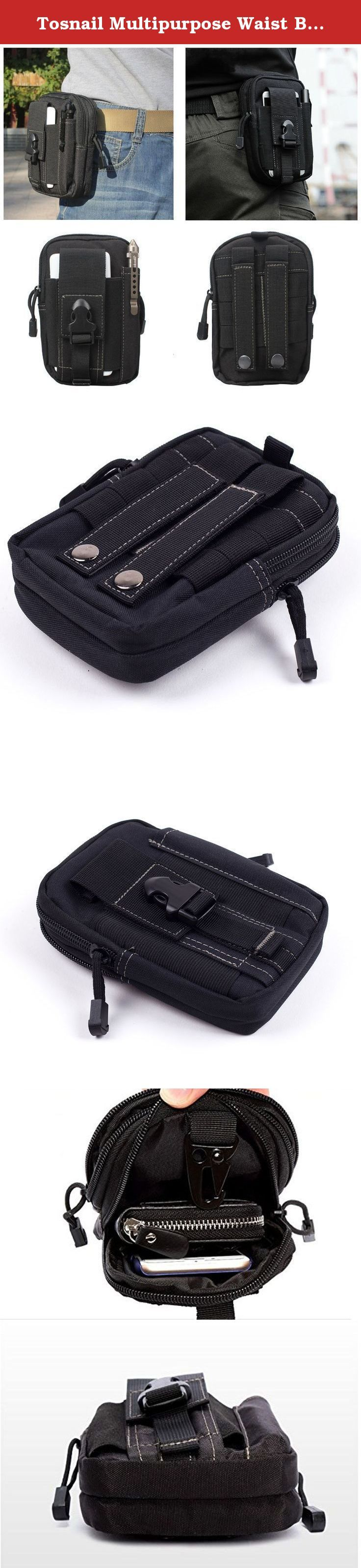 Tosnail Multipurpose Waist Bag, Black. small, easy to carry With the help of the elastic band, can be hanged around the neck, or fixed in the arms or legs multiple purpose Nylon material, waterproof and durable.
