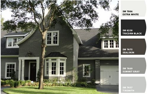 Exterior Paint Colors:  SW Extra White, SWTricorn Black, SW Sealskin  SW Summit Gray, SW Tinsmith
