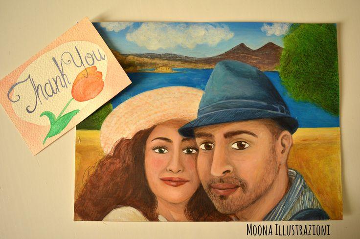 Ritratto di coppia personalizzato, per matrimonio, anniversario, idea regalo per lei, dipinto a mano, illustrazione originale realistica di MoonaIllustrazioni su Etsy