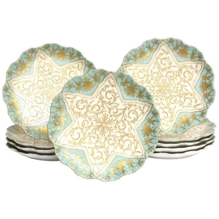 Ten Elaborately Decorated Turquoise Gilt Dessert or Display Plates, 19th Century | From a unique collection of antique and modern dinner plates at https://www.1stdibs.com/furniture/dining-entertaining/dinner-plates/
