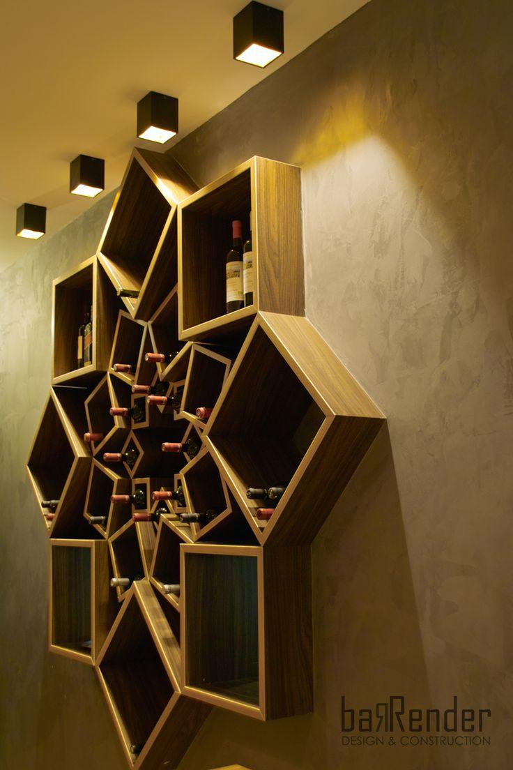 Custom-made wall-mounted wine rack - Barbalexis Oriental Restaurant in Piraeus