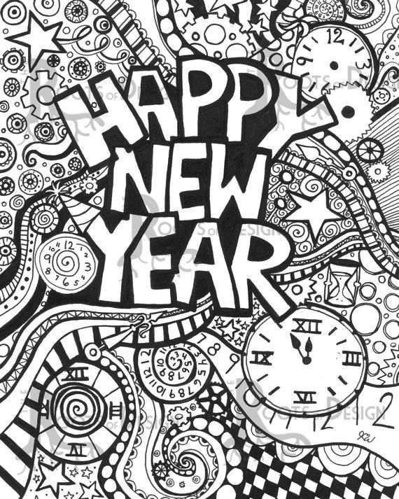INSTANT DOWNLOAD Coloring Page Happy New Year Art Print