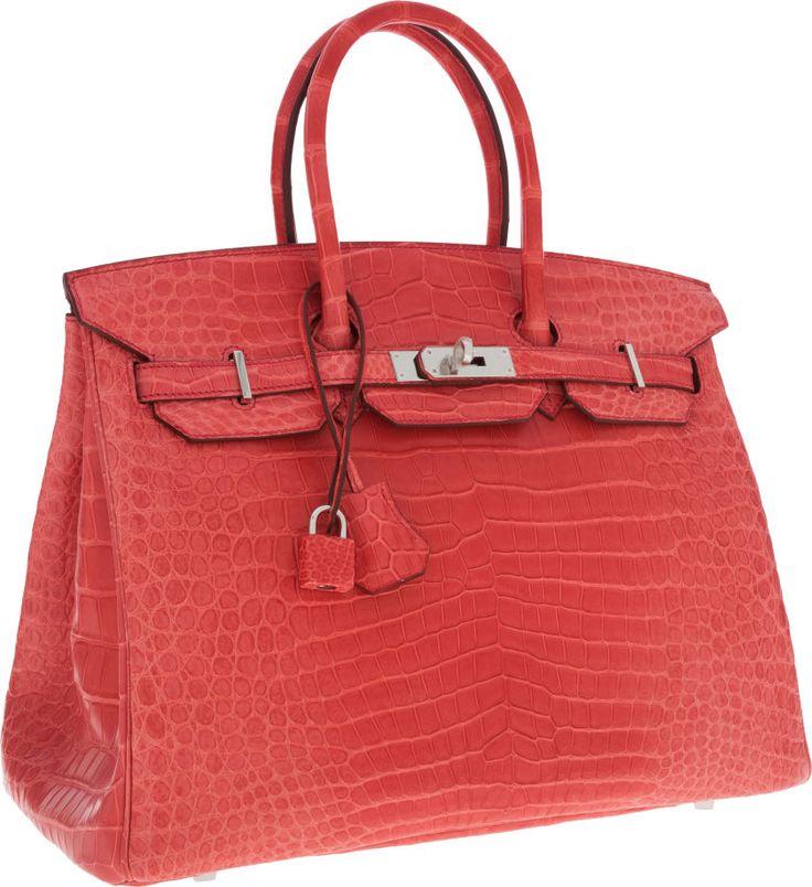 Hermes 35cm Matte Bougainvillea Porosus Crocodile Birkin Bag with ...