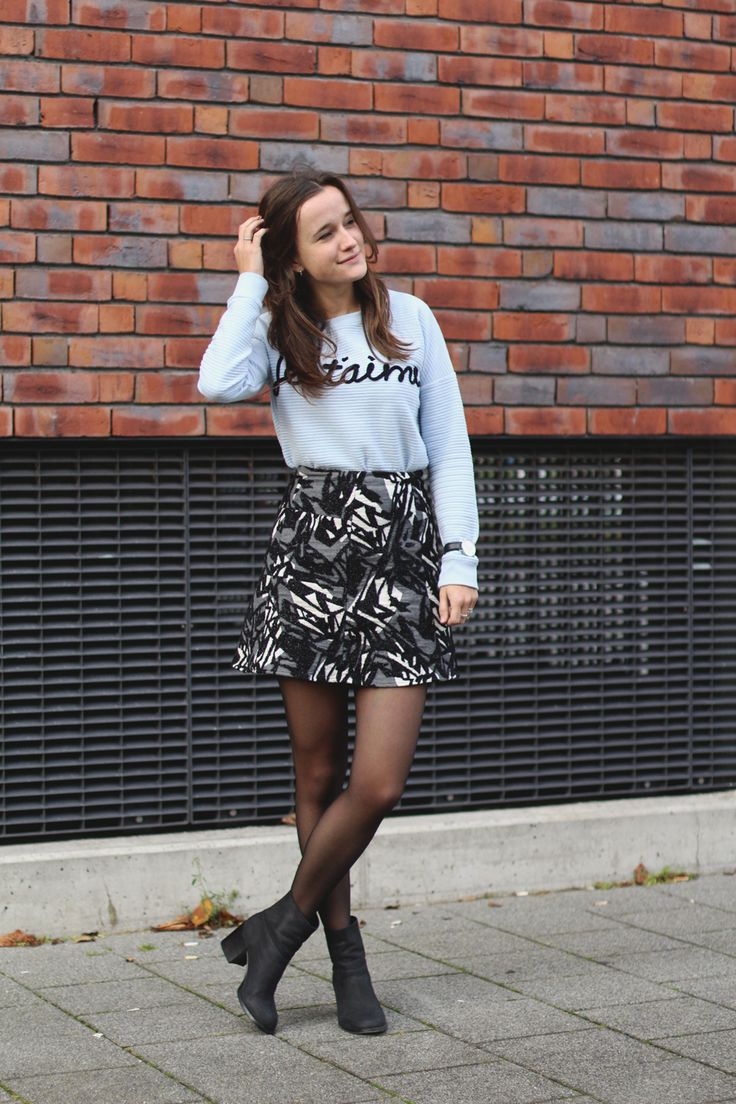 Fashiable, outfit, fashion, blogger, ZARA skirt, New Yorker Je t'aime sweater, & Other Stories boots