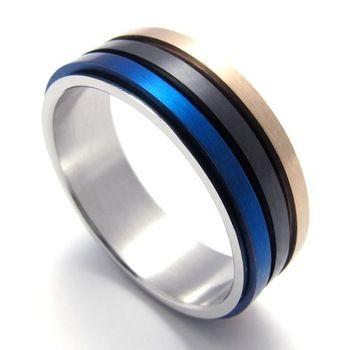Punk de jóias de titânio de aço inoxidável três cores preto azul do ouro de rotação do círculo dos homens das mulheres anéis de casamento anéis de noivado 20008