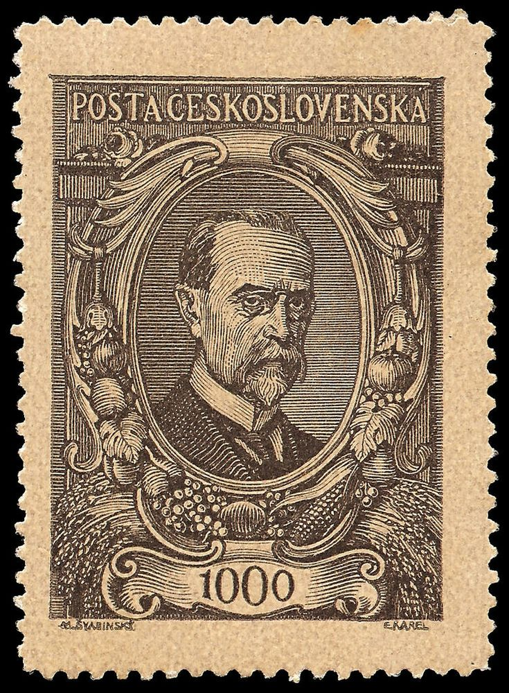 Portrait of TOMÁŠ GARRIGUE MASARYK Stamp design by M.Svabinsky (Max Švabinský) and engraved by M.Karel (Eduard Karel, engraver of many Czechoslovakian stamps). Country: Czechoslovakia Year: 1920