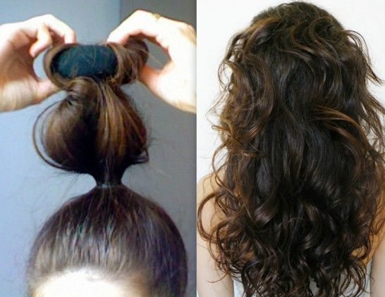 How to Curl Your Hair at Home Using a Sock not sure if this will work with my hair, but worth a try.