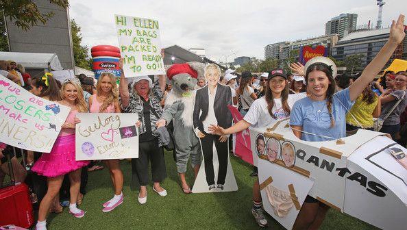 Ellen fans gather at Crown Riverwalk on February 27, 2013 in Melbourne, Australia. Ellen Degeneres tweeted for fans to gather outside Crown ...