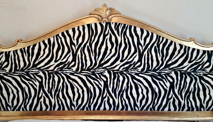 Como convertir un marco antiguo de espejo en cabecero dorado tapizado de cebra | Bohemian and Chic
