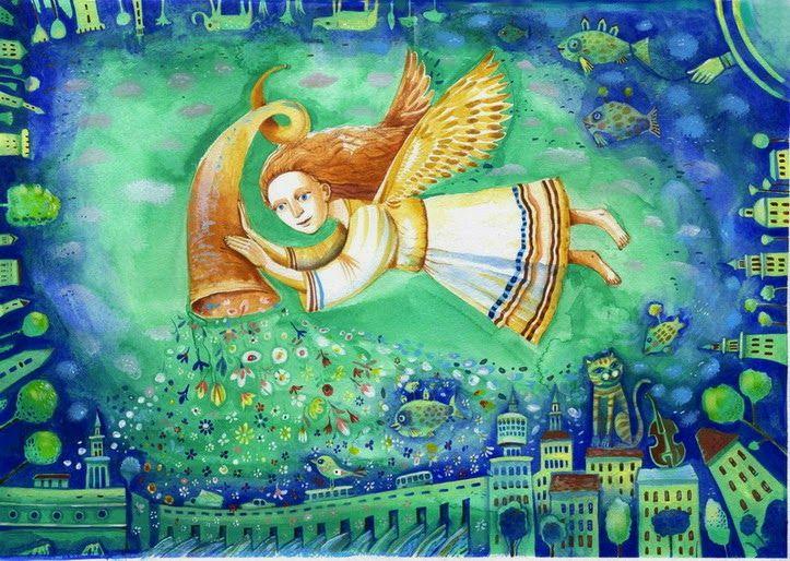 блог Черемисина Сергея: ангел над городом 48х35 см.техника