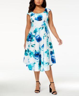 8251418d464 fit and flare - Macy's. Calvin Klein Plus Size Cotton Floral-Print Midi  Dress