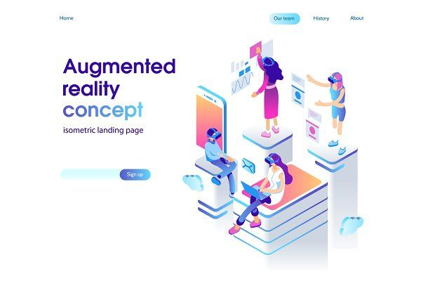 Virtual Augmented Reality Isometric Illustration Augmented Reality Web Design Quotes