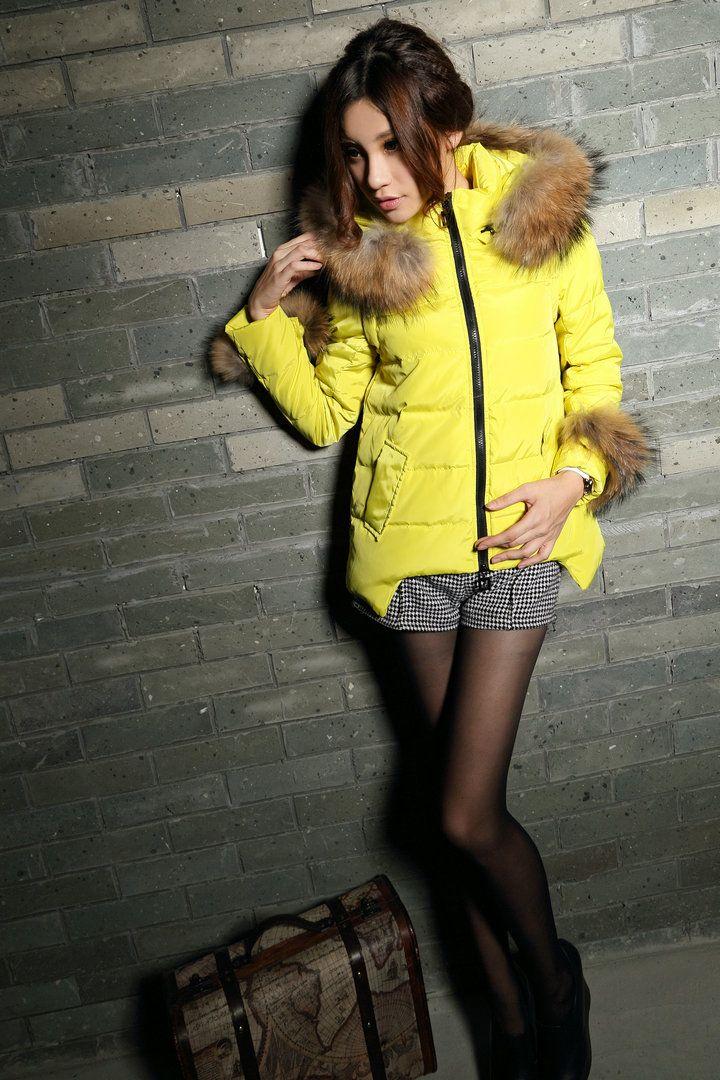 Зимний пуховик короткий Ушки желтый