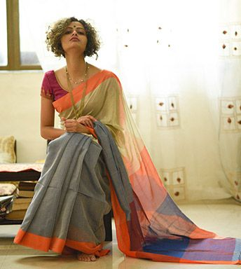 Cotton Sarees - When Colours Sing With Threads- Olives Blueberries And Oranges By SuTa PC 20157 - Thumbnail